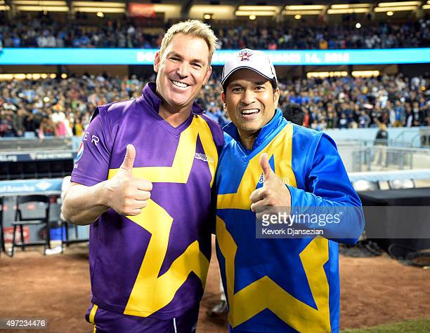Shane's Warriors Shane Warne and Sachin's Blasters Sachin Tendulkar pose after the final game of a threematch three city US tour of Twenty20 series...