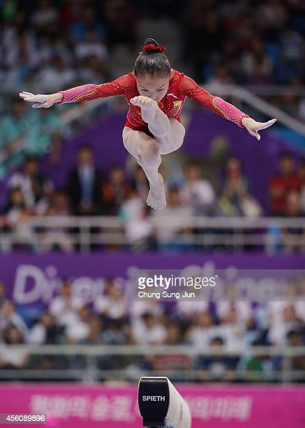 Shang Chunsong of China competes in the Women's Apparatus Final during the 2014 Asian Games at Namdong Gymnasium on September 25, 2014 in Incheon,...