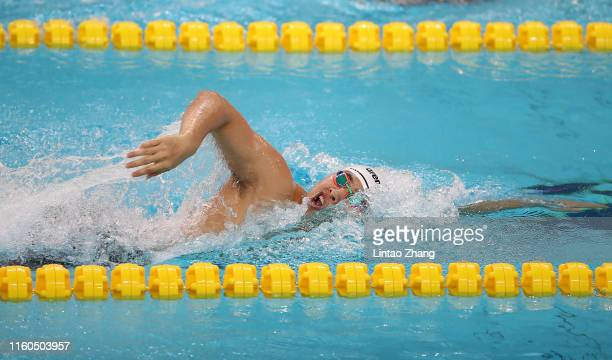 Shang Keyuan of China competes in the Men's 200m Freestyle on day three of the 2019 FINA Swimming World Cup at Jinan Olympic Sports Centre Stadium on...