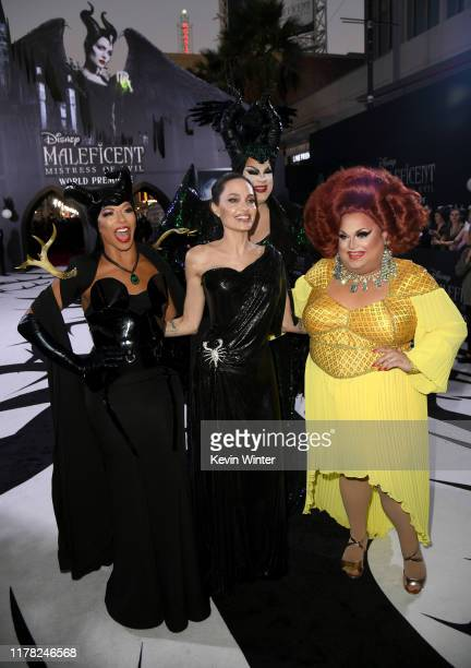 """Shangela, Angelina Jolie, Nina West, and Ginger Minj attend the world premiere of Disney's """"Maleficent: Mistress Of Evil"""" at El Capitan Theatre on..."""
