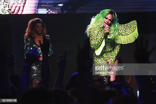Shangela Laquifa Wadley and Chi Chi DeVayne speak onstage during the RuPaul's Drag Race Season 8 Finale Party at Stage 48 on May 16 2016 in New York...