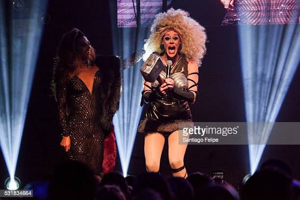 Shangela Laquifa Wadley and Thorgy Thor onstage during RuPaul's Drag Race Season 8 Finale Party at Stage 48 on May 16 2016 in New York City