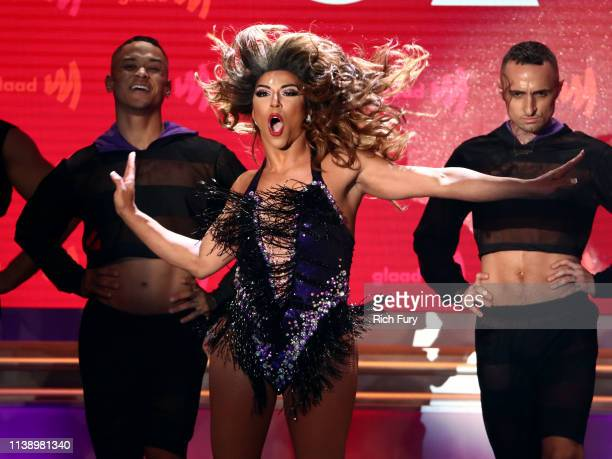 Shangela performs onstage during the 30th Annual GLAAD Media Awards Los Angeles at The Beverly Hilton Hotel on March 28 2019 in Beverly Hills...