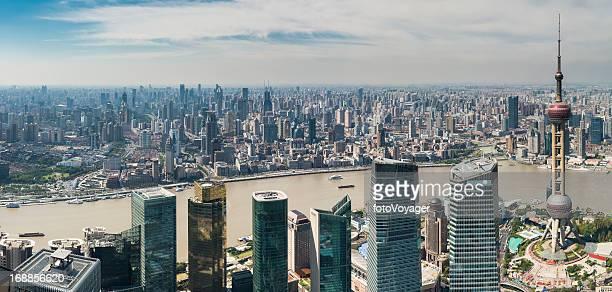 Shanghai aerial cityscape panorama Pudong The Bund China