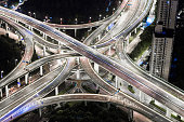 Shanghai, Aerial View of Busy Road Intersection