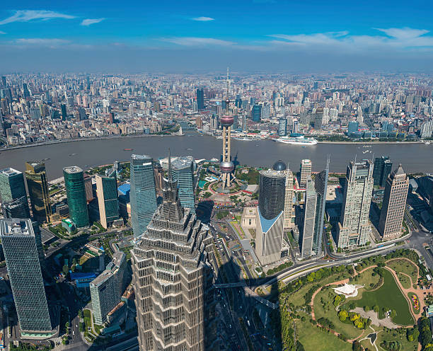 Shanghai Aerial View Over Pundong Skyscrapers And The Bund China Wall Art