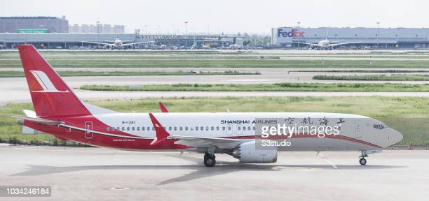 Shanghai Airlines Boeing 737 MAX 8 in runaway at Shanghai Pudong International Airport on September 08 2018 in Shanghai China