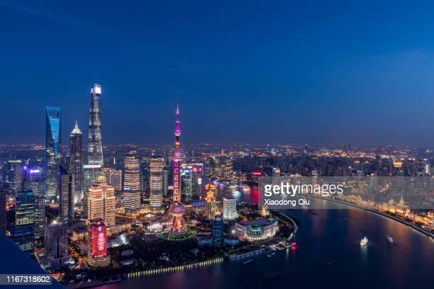 shanghai at dusk - 上海 ストックフォトと画像