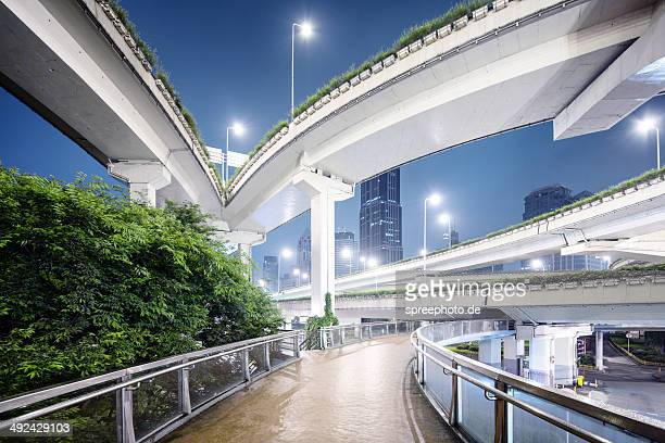 Shanghai bridges with walkway at night
