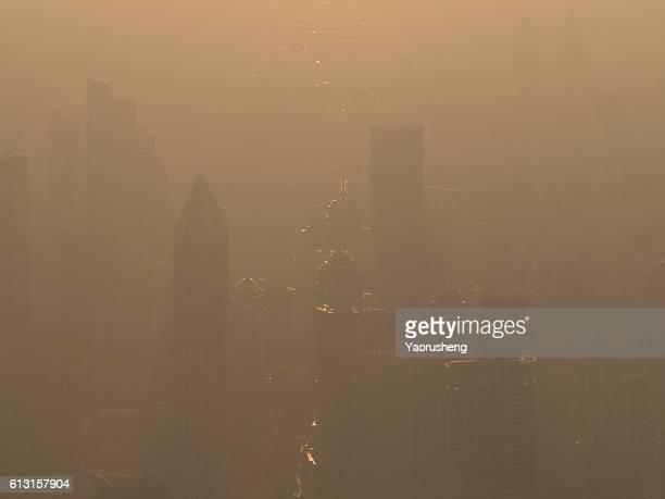 Shanghai building in the polluted day