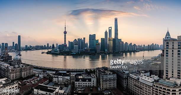 Shanghai bund and lujiazui district at sunrise,Shanghai,China