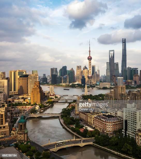 shanghai bund and lujiazui skyline at dusk