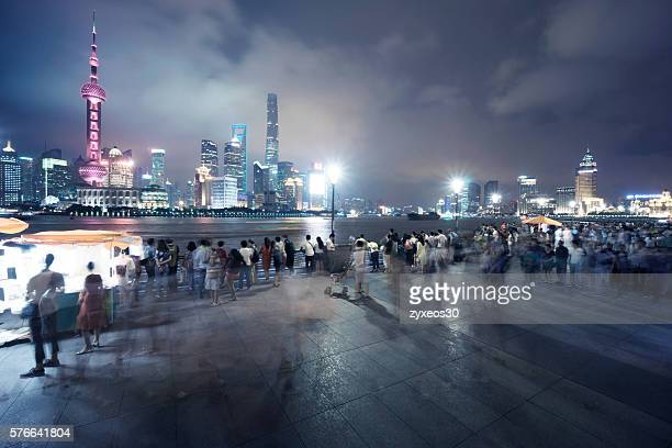 shanghai bund at night,The bund have crowded visitors on the viewing deck.