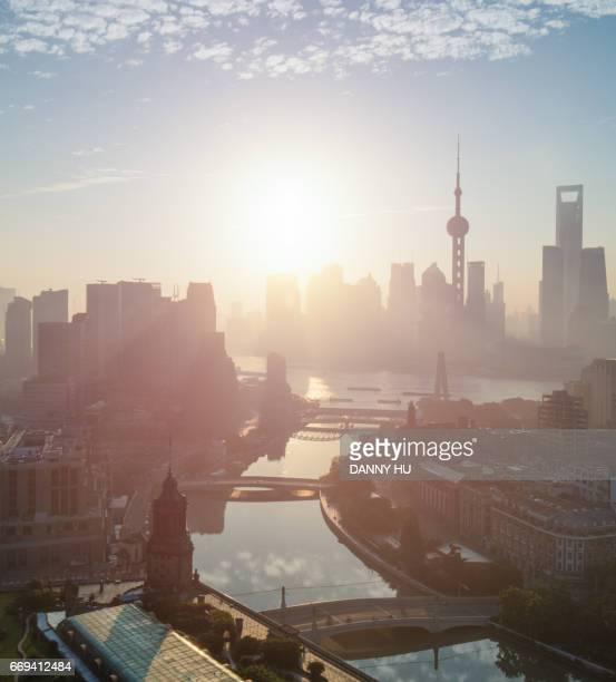 shanghai bund at sunrise