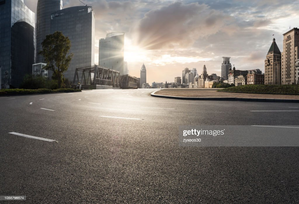 Shanghai bund financial district and road. : Foto stock