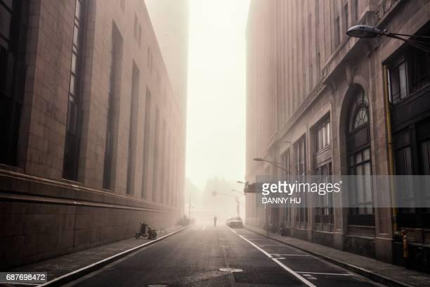 shanghai bund in fog