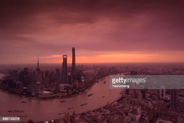 Shanghai bund in sunset,landmark place of SHanghai,CHina