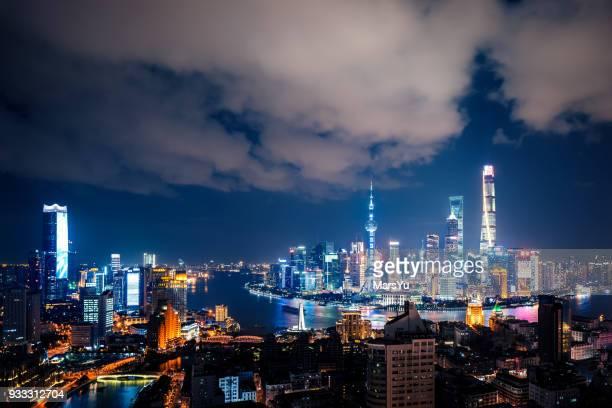 shanghai bund skyline panorama - prosperity stock pictures, royalty-free photos & images