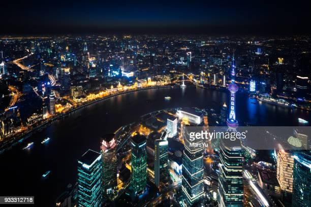 Shanghai Bund skyline panorama