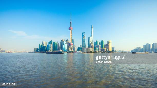Shanghai business district in day , China , Asia