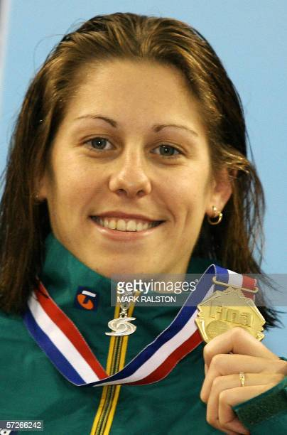 Jade Edmistone from Australia holds her medal on winning the Women's 50 metre breaststroke final in a time of 3022 during the 8th FINA World Short...