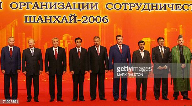 Leaders of Shanghai Cooperation Organization Uzbekistan's President Islam Karimov Russian President Vladimir Putin Kazakhstan's President Nazarbayev...