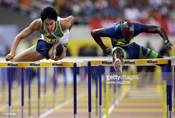 Liu Xiang from China, who is the 2004 Olympic title and world record holder, in action before winning the 110m Men's Hurdles at the Shanghai Golden...
