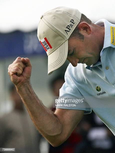 Markus Brier of Austria celebrates after winning the Volvo China Open at the Silport Golf Club in Shanghai 15 April 2007 Brier blazed a finalround 67...