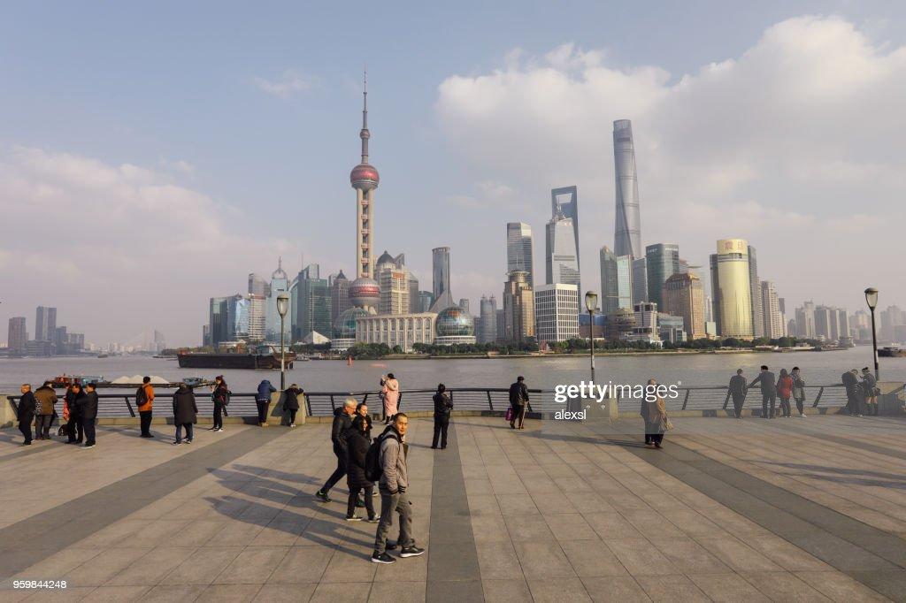 Shanghai China moderne Wolkenkratzer Skyline Stadt Bund Blick : Stock-Foto