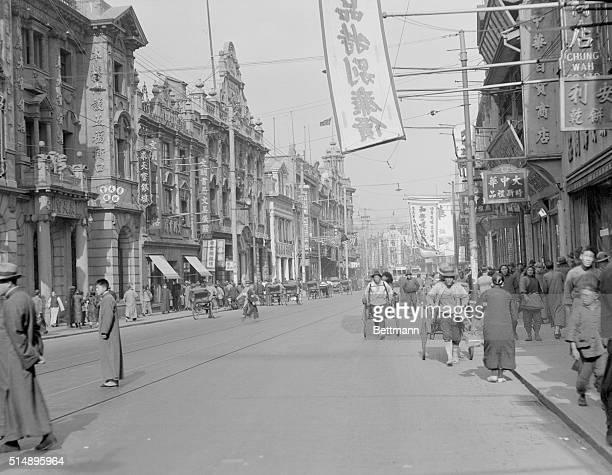 Photograph on April 2 1932 Nansing Road principal shopping district