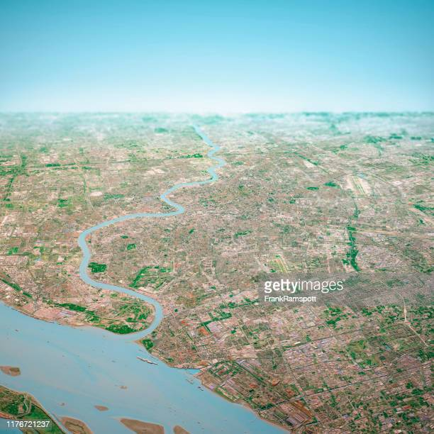 shanghai city 3d render aerial horizon view from north oct 2018 - frankramspott stock pictures, royalty-free photos & images
