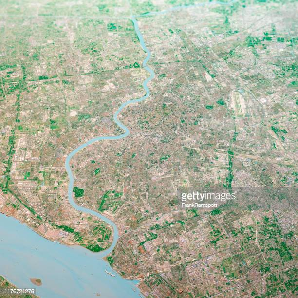 shanghai city 3d render aerial landscape view from north oct 2018 - frankramspott stock pictures, royalty-free photos & images