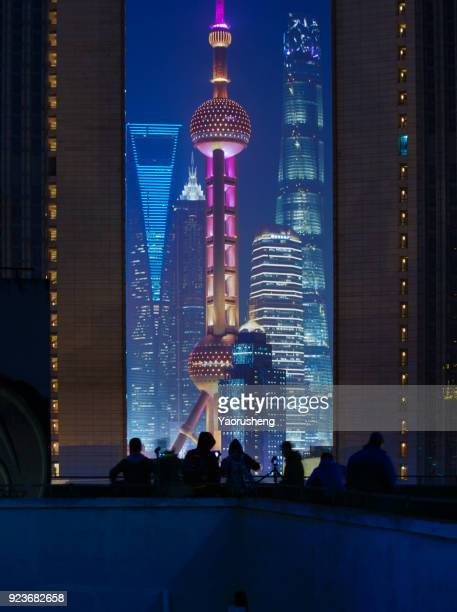 shanghai city four famous building in one frame:oriental pearl tower,shanghai tower,jinmao and international finance center - oriental pearl tower shanghai stock pictures, royalty-free photos & images