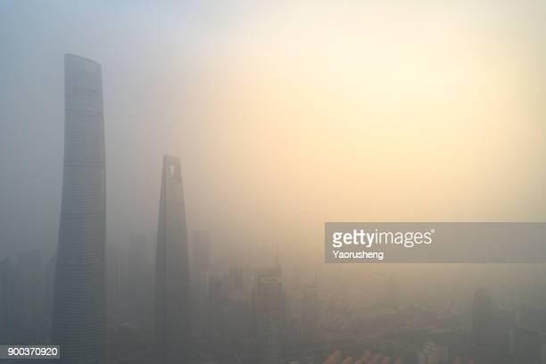 Shanghai city in heavy pollution day
