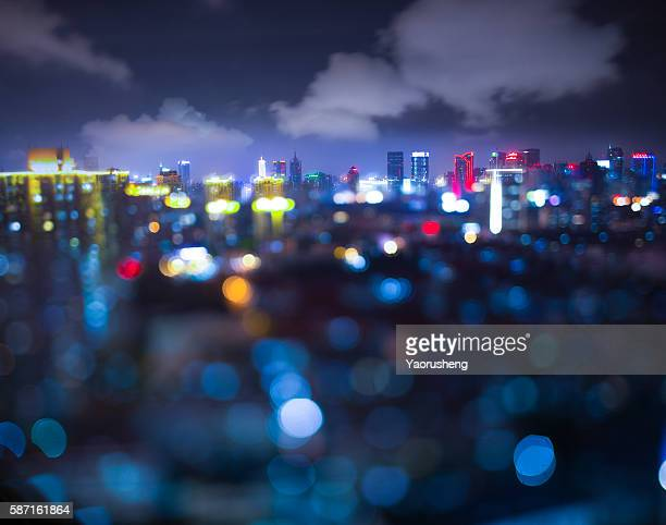 Shanghai city in light blur bokeh,by tilt and shift lens