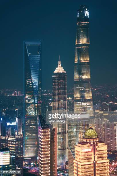 shanghai city in night,lujiazui building - china east asia stock pictures, royalty-free photos & images