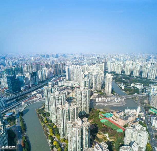 Shanghai city landscape, cityscape from airview