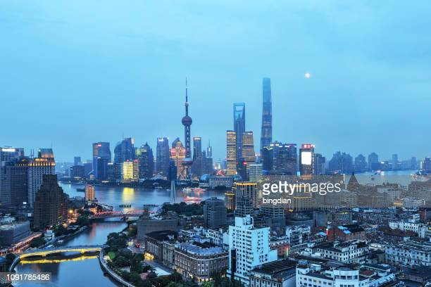 shanghai city scenery - twilight stock pictures, royalty-free photos & images