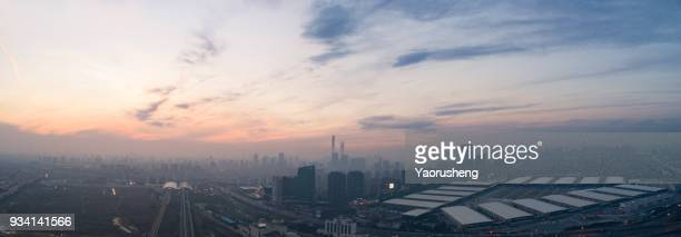shanghai city skyline in susnet,aerial view,highway,maglev and metro station - charming stock pictures, royalty-free photos & images