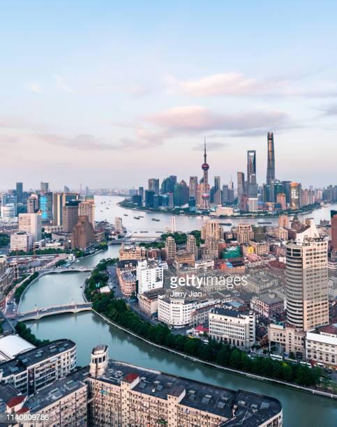 shanghai city skyline - bund - fotografias e filmes do acervo