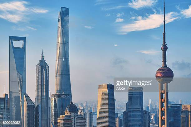 shanghai city skyline - china east asia stock pictures, royalty-free photos & images