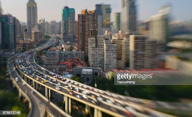 Shanghai city transportation ,view from tilt and shift lens