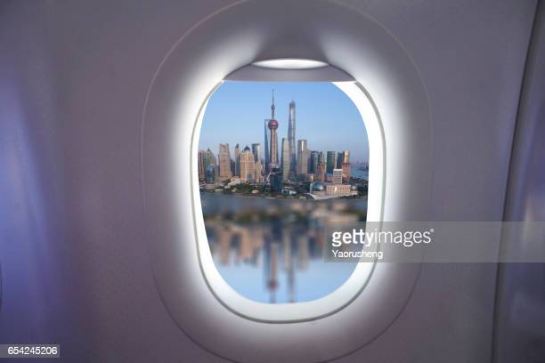 Shanghai city,outside the airplane window