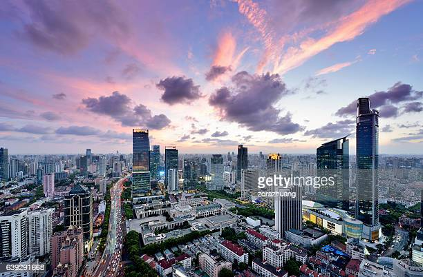 Shanghai cityscape and skyscrapers at sunset