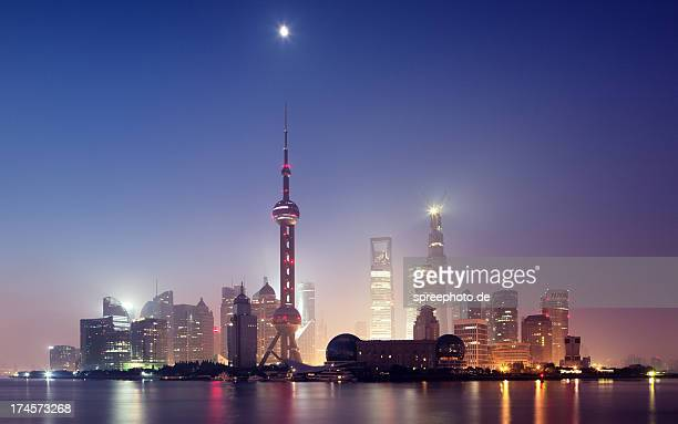Shanghai Cityscape at moonlight with dust