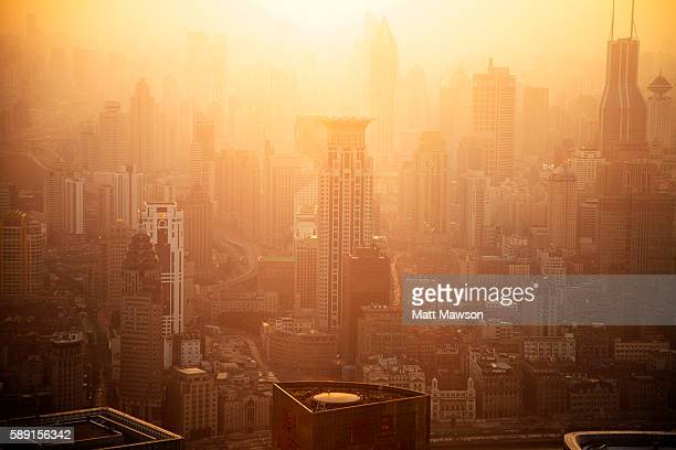 Shanghai Cityscape in an Afternoon Golden Smog