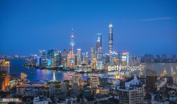 shanghai cityscape in the evening