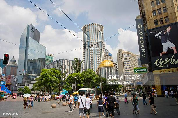 shanghai cityscape - nanjing road stock pictures, royalty-free photos & images