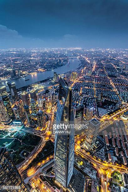 shanghai cityscape - lujiazui stock pictures, royalty-free photos & images