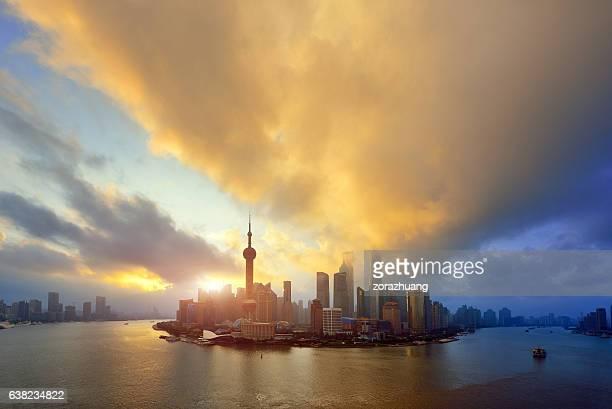 Shanghai Cityscape Skyline at Sunrise